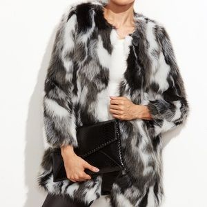 SHEIN Black and White Faux Fur Coat